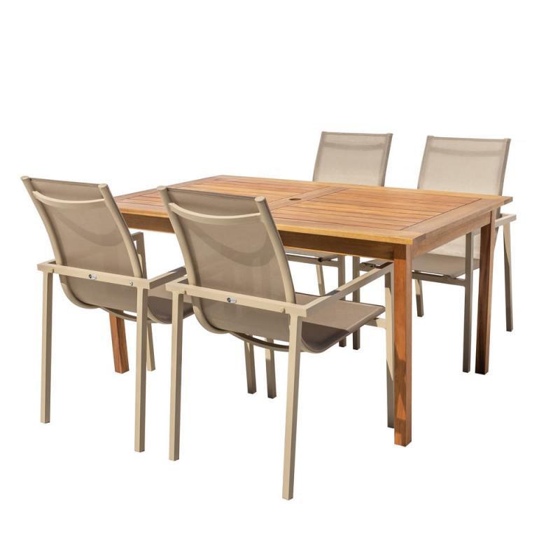 Ensemble Table en Bois & Chaises Aluminium/Textilène - OLUVELI