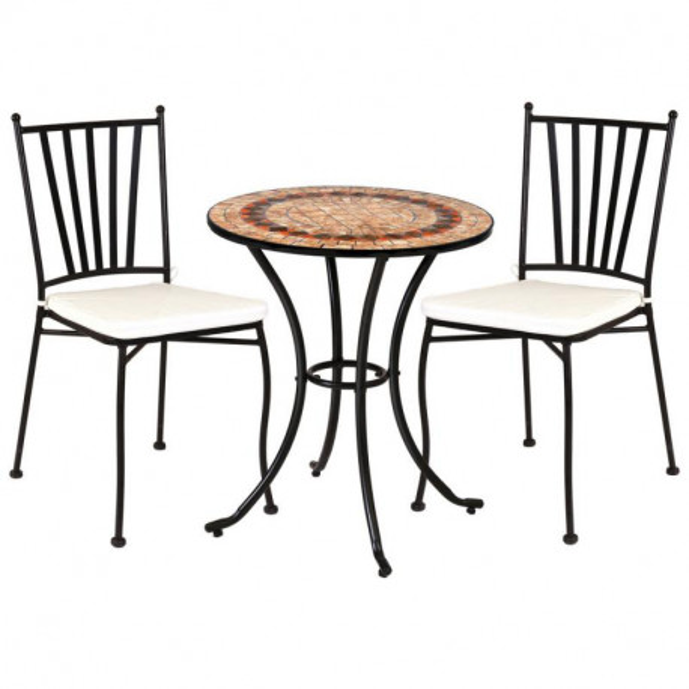 Ensemble Table mosaïque & Chaises Fer noir EMBUDU - Univers du Jardin