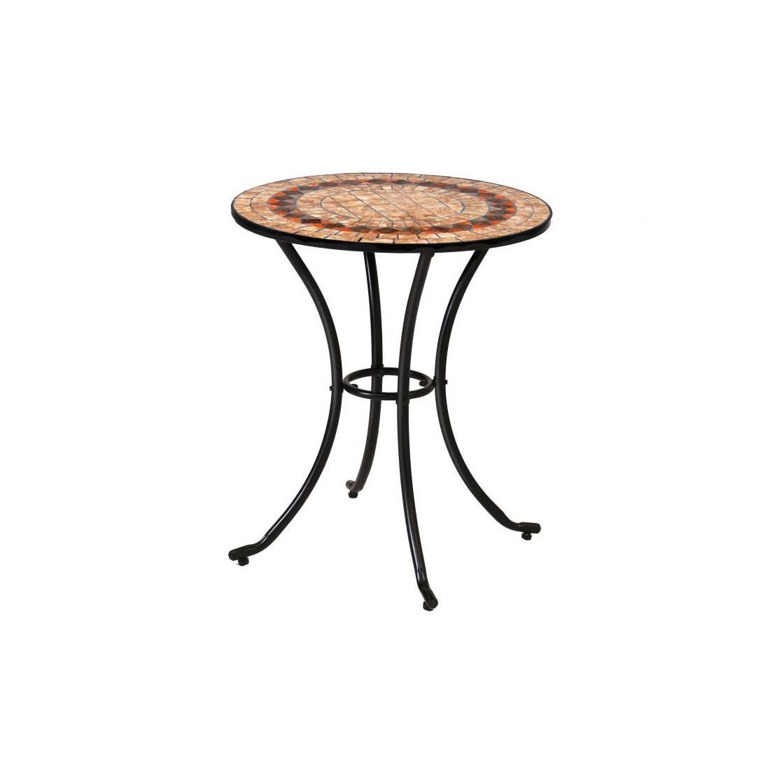 Ensemble Table mosaïque & Chaises Fer noir EMBUDU - Univers ...