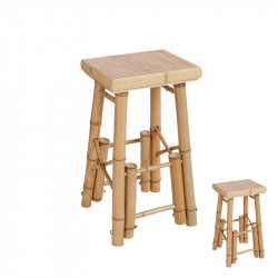 Duo de Tabourets de bar Bambou naturel - Univers Assises et Salon : Tousmesmeubles