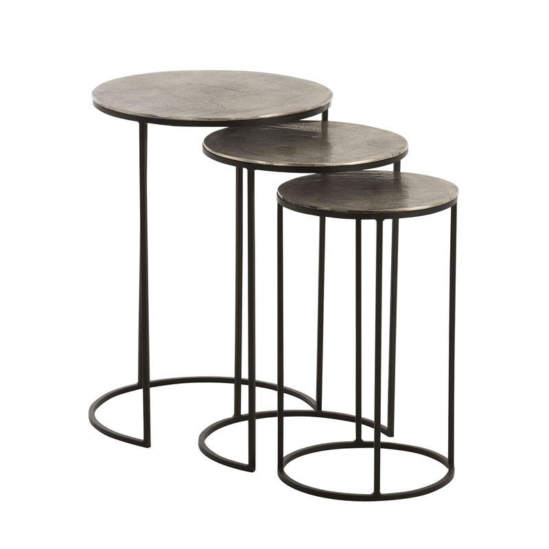 Trio de Tables gigognes Métal Noir/Gris - Univers Petits Meubles : Tousmesmeubles