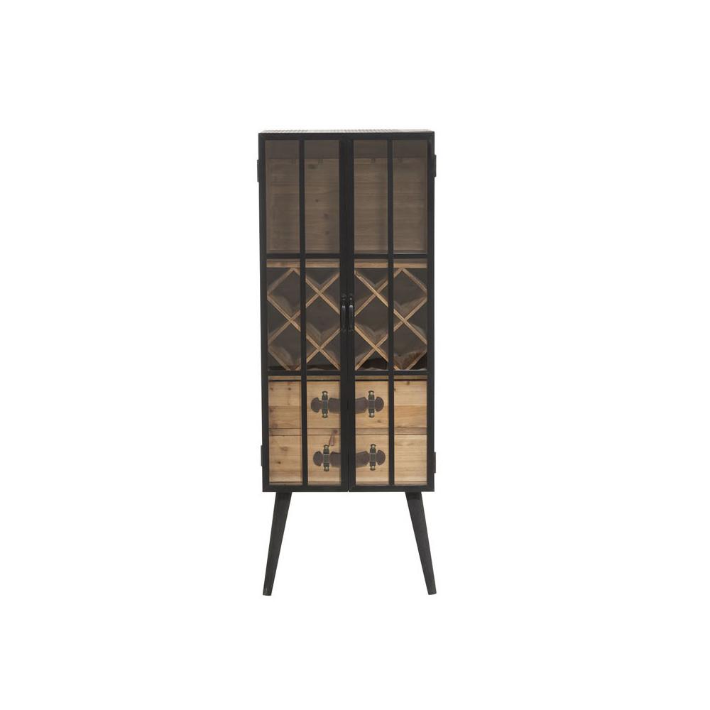 Bar 2 portes 2 tiroirs Bois/Métal/Verre - Univers Salon : Tousmesmeubles