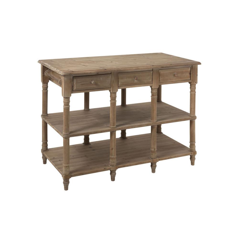 Console 6 tiroirs 3 plateaux Bois campagne - Univers Petits Meubles : Tousmesmeubles