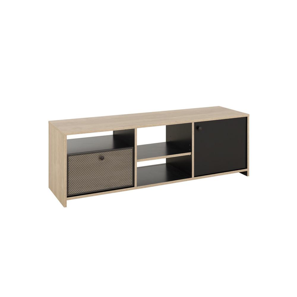 Meuble TV 1 porte 1 tiroir Noir/Bois - PRESTINE