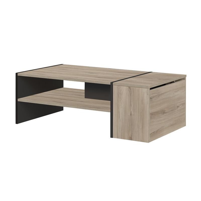 Table basse avec coffre Noir/Bois clair - CHICALA