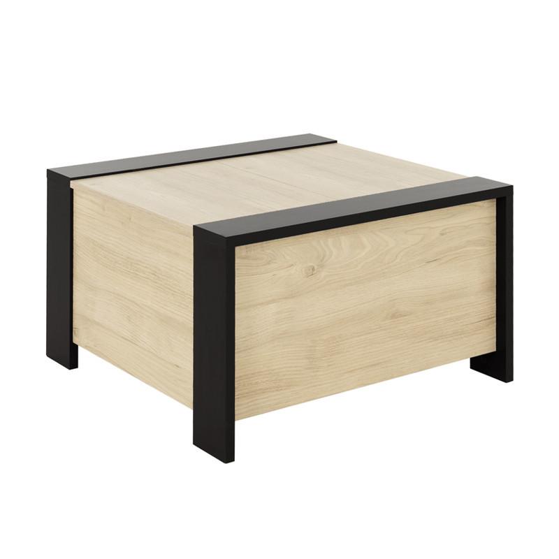 Table basse carrée coffre Noir/Bois - LIVERSTIA