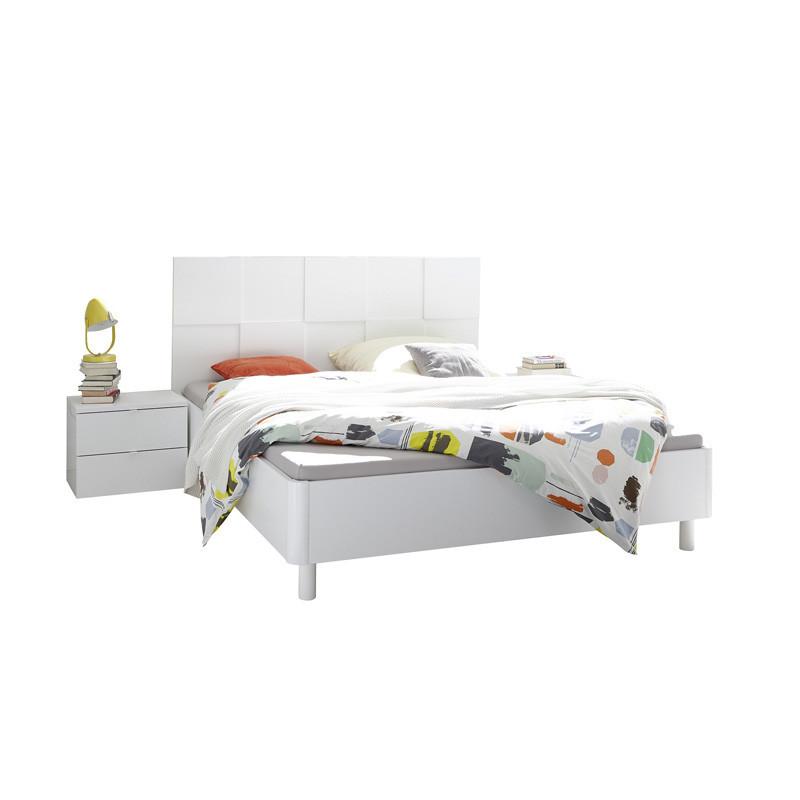 Cadre + Tête de lit 160*200 + chevets bois laqué Blanc mat - Univers Chambre : Tousmesmeubles