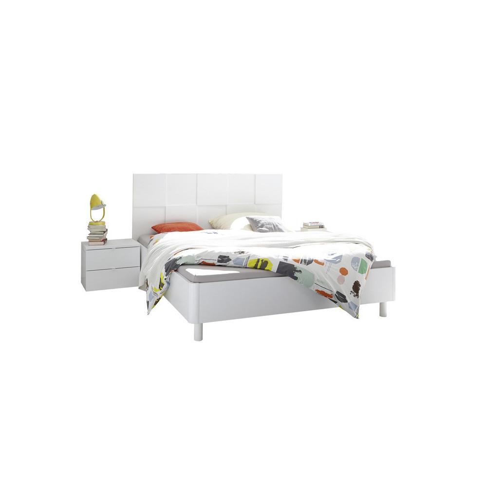 Cadre + Tête de lit 180*200 + chevets Blanc mat bois laqué moderne - Univers Chambre : Tousmesmeubles