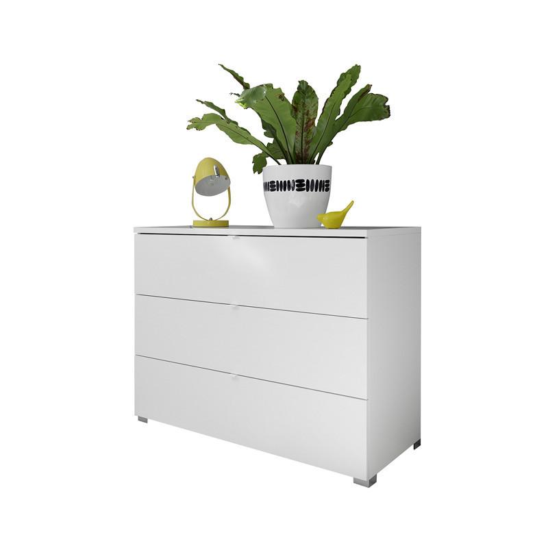 Commode 3 tiroirs Blanc mat bois laqué contemporain - Univers Chambre : Tousmesmeubles