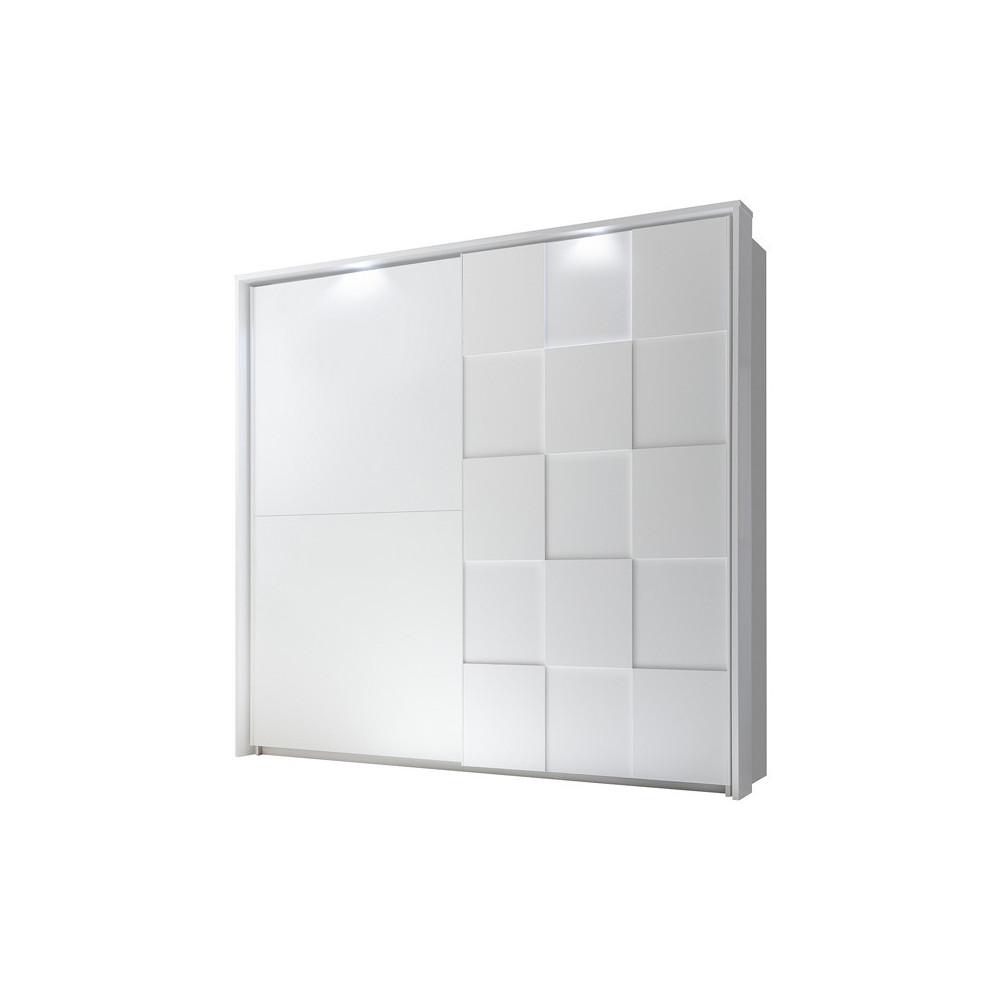 Armoire moderne 2 portes coulissantes 220 cm laqué Blanc mat à LEDs - Univers Chambre : Tousmesmeubles