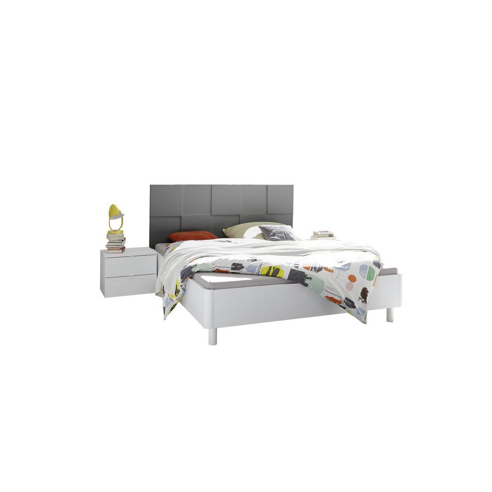 Cadre + Tête de lit 160*200 + chevets Blanc/Gris mat laqué moderne - Univers Chambre : Tousmesmeubles
