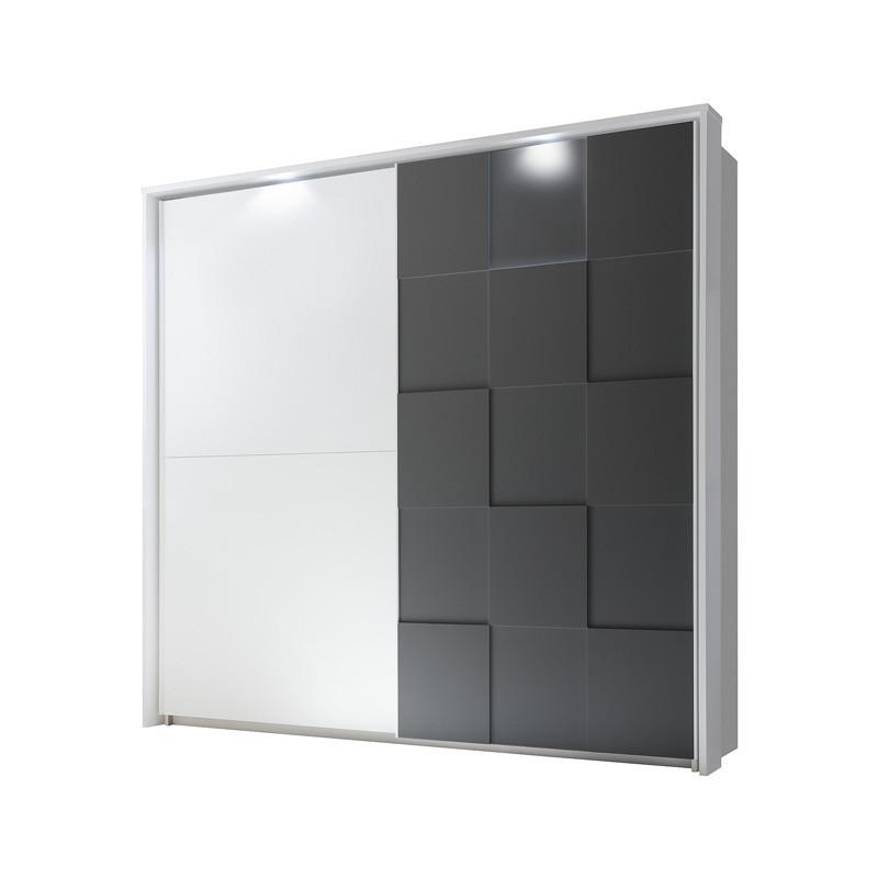 Armoire 2 portes coulissantes 220 cm Blanc/Gris mat à LEDs - TICATO