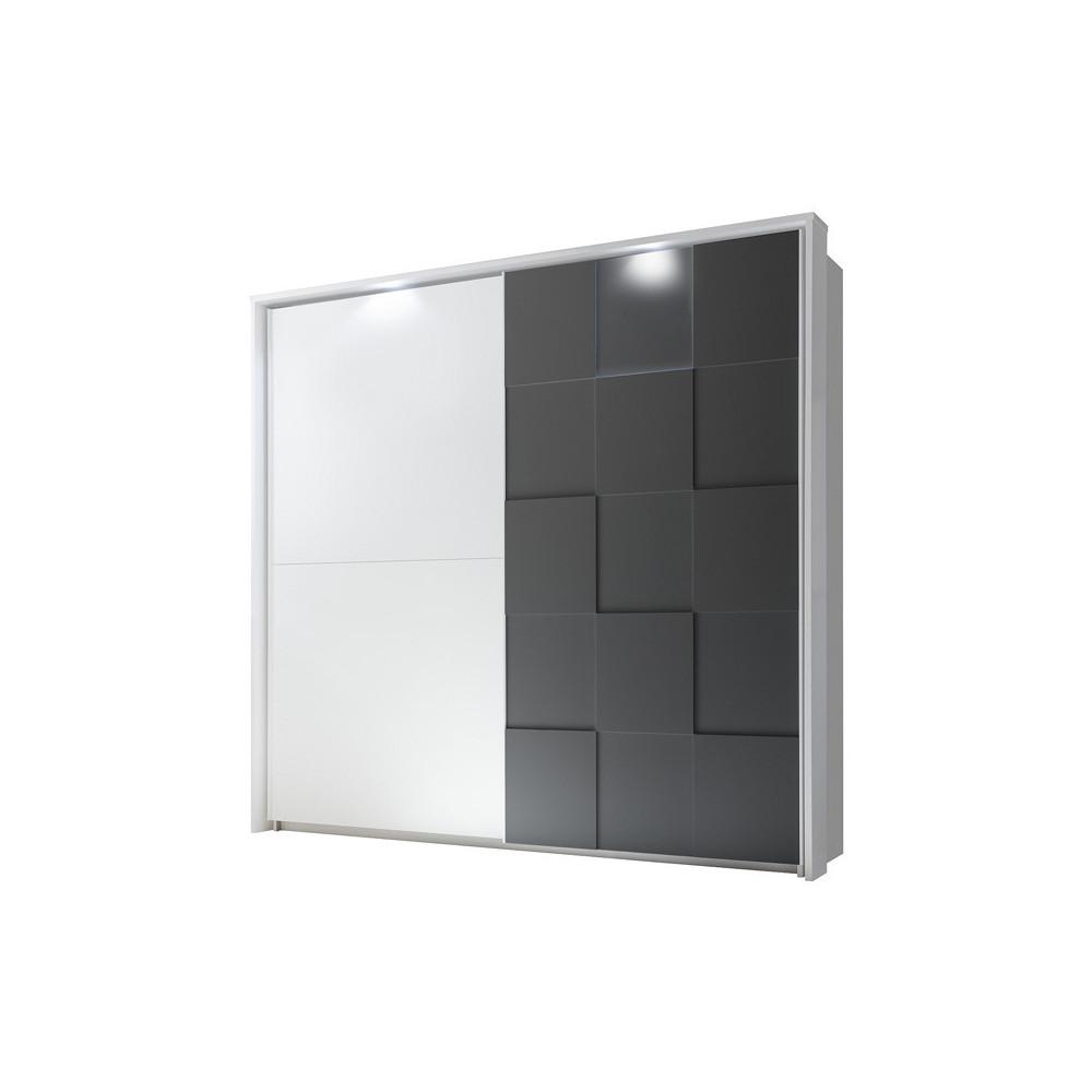 Armoire 2 portes coulissantes 220 cm Blanc/Gris mat à LEDs laqué moderne - Univers Chambre : Tousmesmeubles