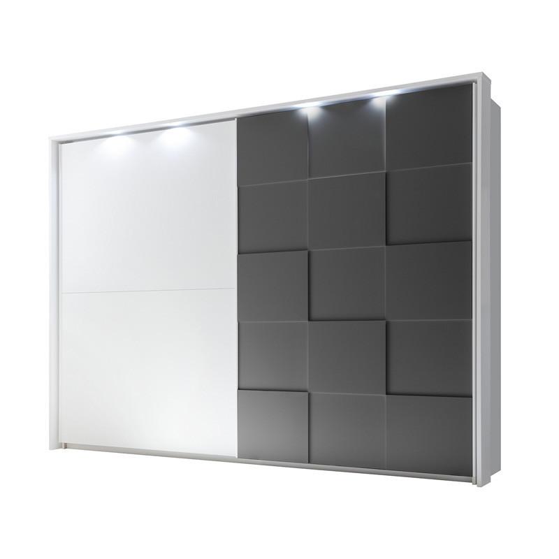 Armoire 2 portes coulissantes 275 cm Blanc/Gris mat à LEDs - TICATO