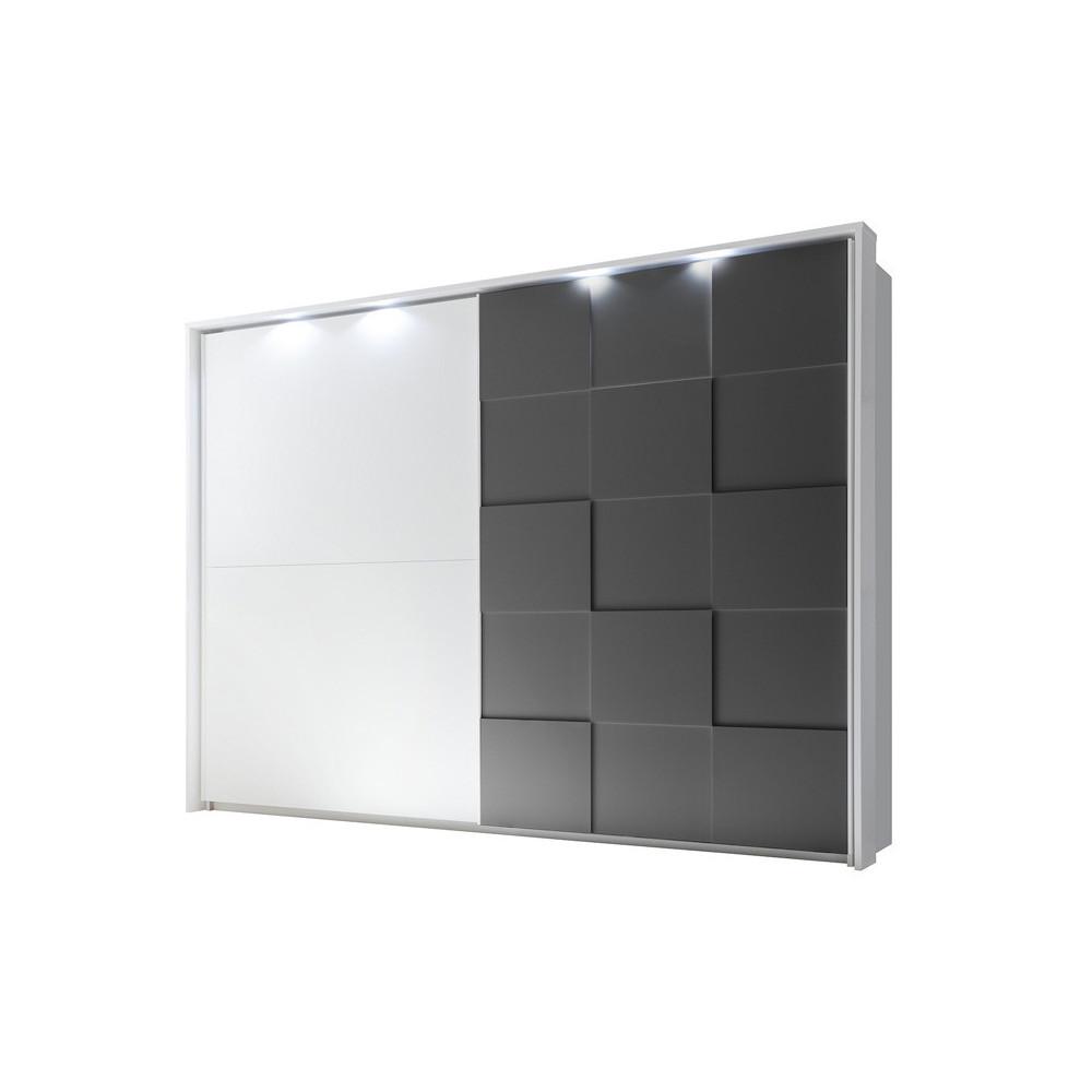 Armoire 2 portes coulissantes 275 cm Blanc/Gris mat à LEDs laqué contemporain - Univers Chambre : Tousmesmeubles