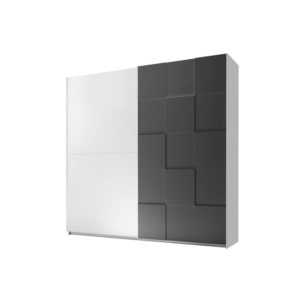 Armoire 2 portes coulissantes 220 cm Blanc/Gris mat TICATO ...