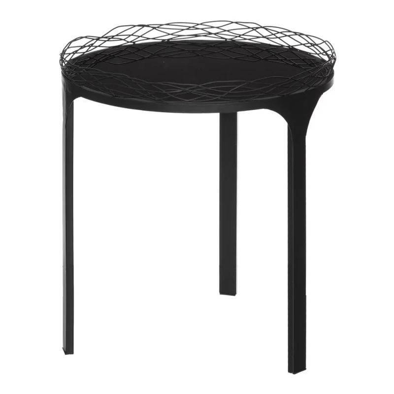 Table d'appoint industrielle Métal/Verre Noir BLOCK - Univers Petits Meubles : Tousmesmeubles
