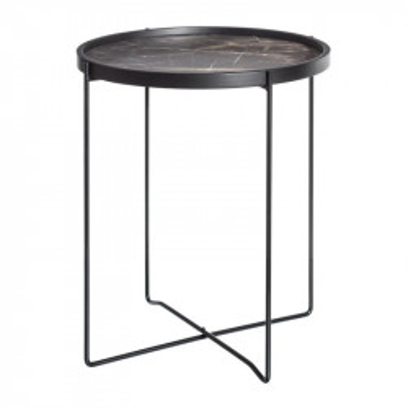 Table d'appoint Métal/Bois Noir/Gris marbre BLOCK - Univers Petits Meubles : Tousmesmeubles