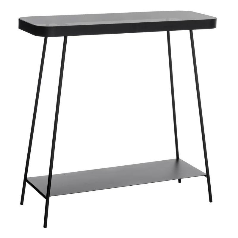 Table d'appoint Métal/Verre Noir industriel BLOCK - Univers Petits Meubles : Tousmesmeubles