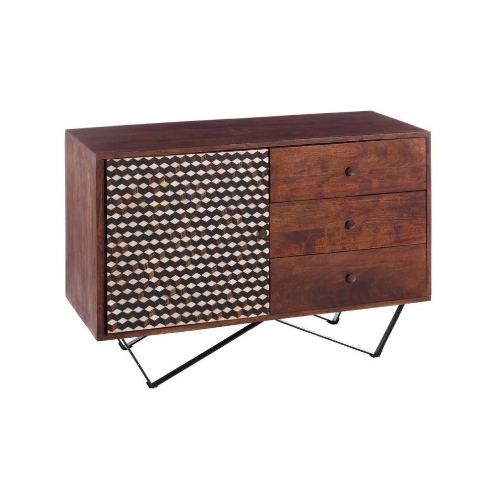 Buffet 1 porte 3 tiroirs vintage bois massif pieds métal - Univers Salle à Manger : Tousmesmeubles