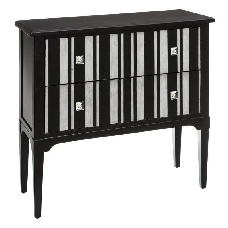 Commode 2 tiroirs Bois Noir/Argent à rayures classique - Univers Chambre : Tousmesmeubles