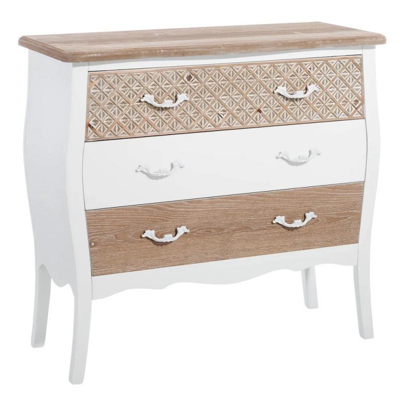 Commode 3 tiroirs Bois/Blanc cottage chic - Univers Chambre : Tousmesmeubles