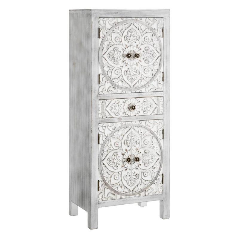 Armoire 4 portes, 1 tiroir Gris blanchi Chinois PEKIN - Univers Chambre : Tousmesmeubles