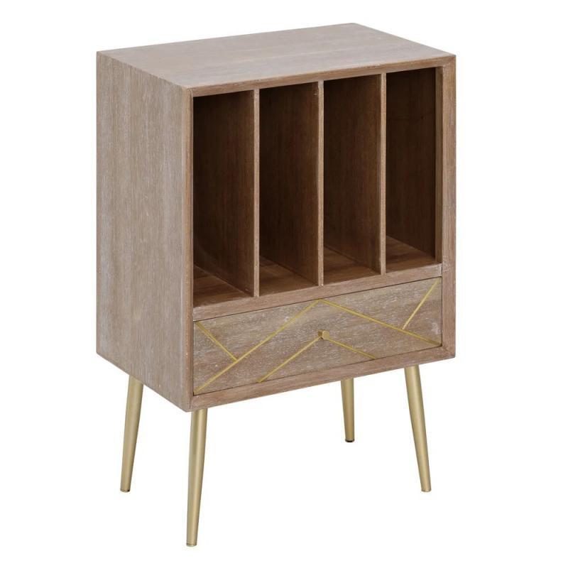 Meuble d'entrée 1 tiroir Bois/Or vintage - Univers Petits Meubles : Tousmesmeubles