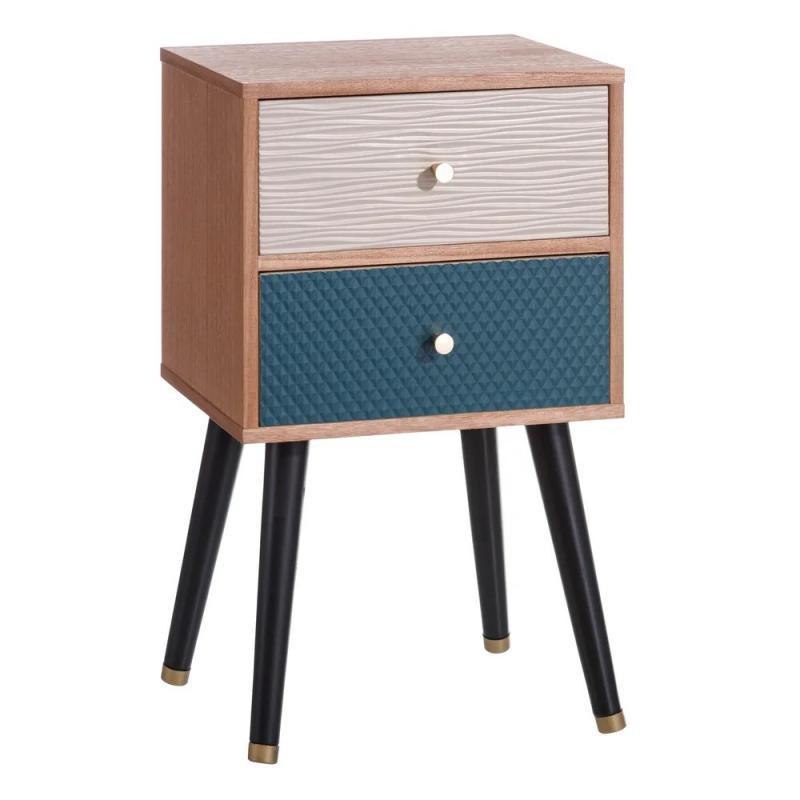 Table de chevet 2 tiroirs Bois/Bleu vintage - Univers Chambre : Tousmesmeubles