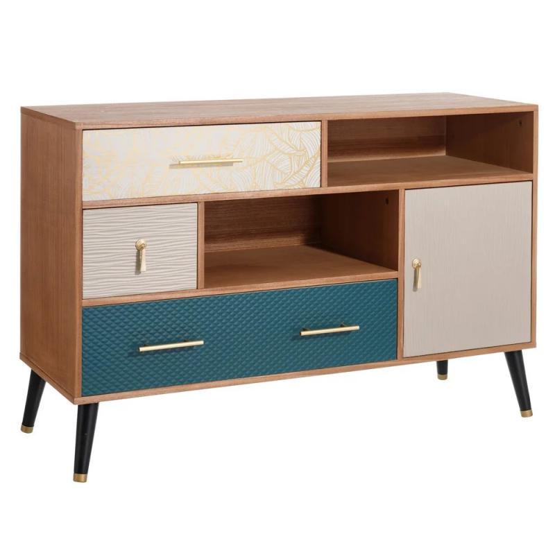 Buffet 1 porte 3 tiroirs Bois/Bleu vintage - Univers Salle à Manger : Tousmesmeubles