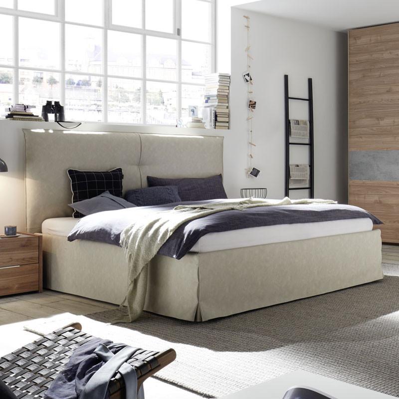 Cadre + Tête de lit 180*200 cm Simili cuir Argile - ANIECE