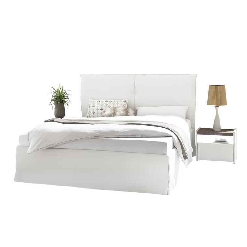 Cadre + Tête de lit 160*200 cm Simili cuir Blanc - ANIECE n°1