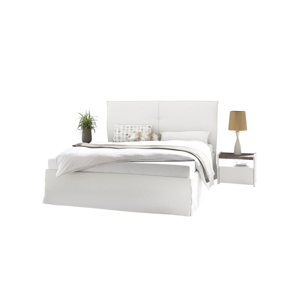 Cadre + Tête de lit 180*200 cm Simili cuir Blanc - ANIECE n°1
