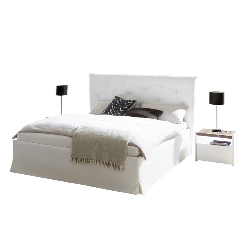 Cadre + Tête de lit 160*200 cm Simili cuir Blanc - ANIECE n°2
