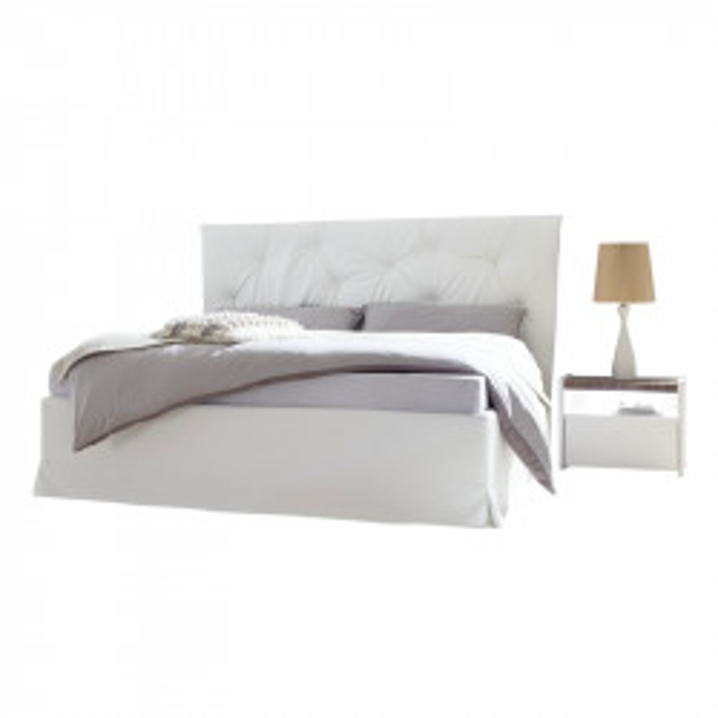 Cadre + Tête de lit 180*200 cm Simili cuir Blanc - ANIECE n°2