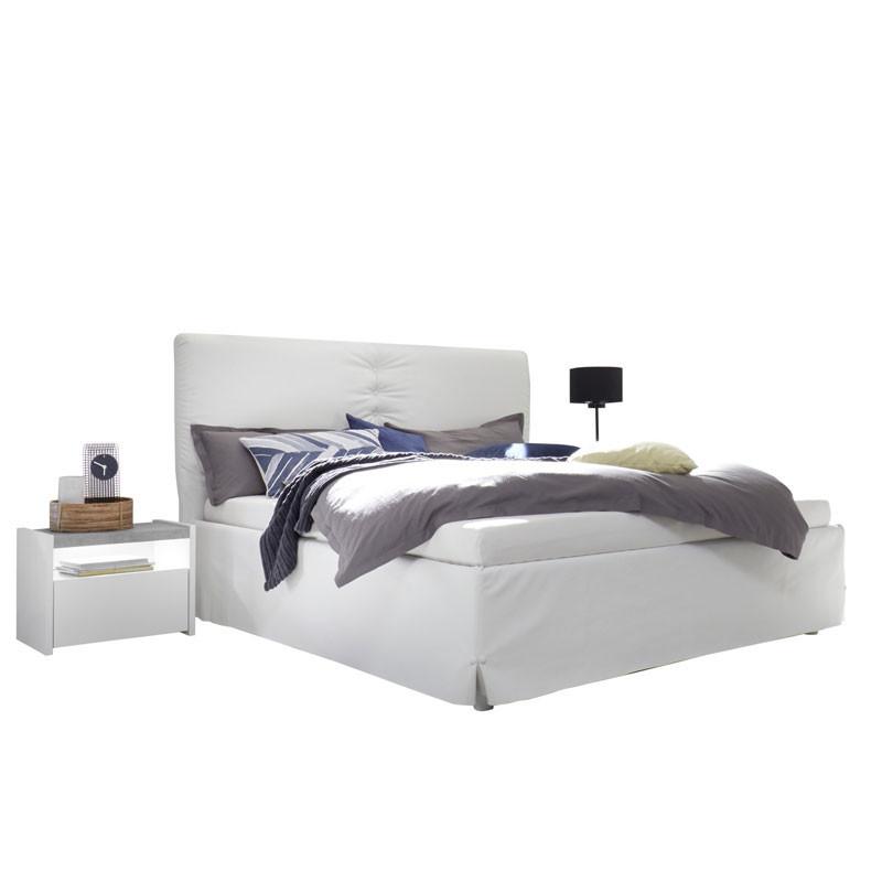 Cadre + Tête de lit 160*200 cm Simili cuir Blanc - ANIECE n°3