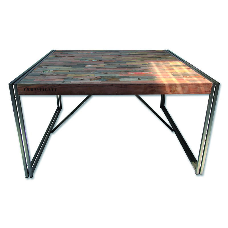Table de repas en bois carrée 140 cm² - INDUSTRY - L 140 x l 140 x H 78