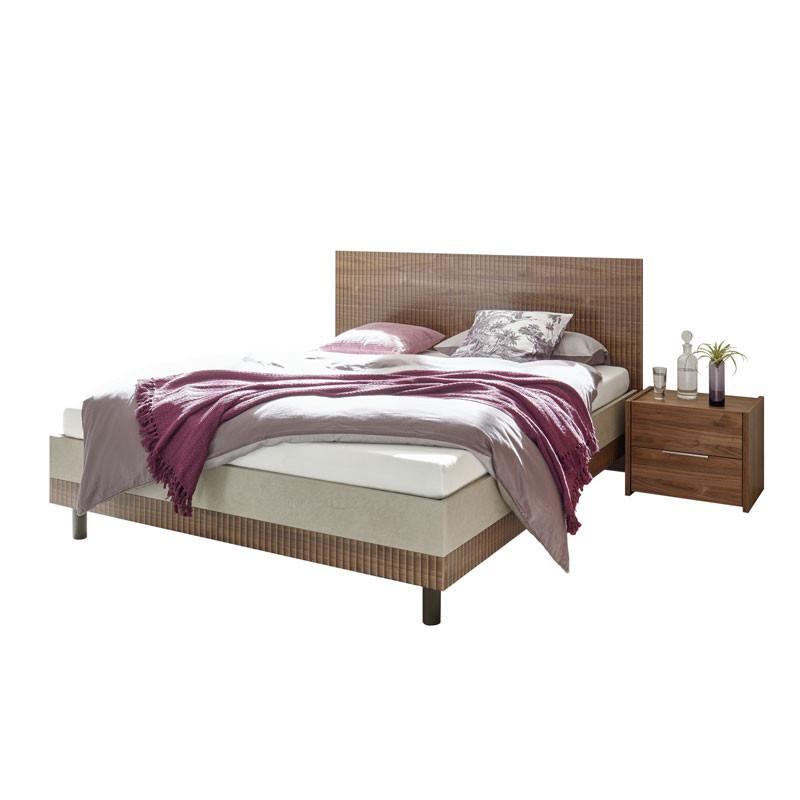 Cadre + Tête de lit 160*200 cm Noisette foncé - ANIECE