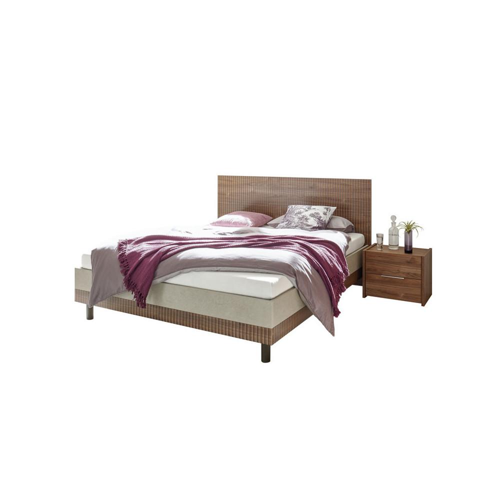 Cadre + Tête de lit 180*200 cm Noisette foncé - ANIECE