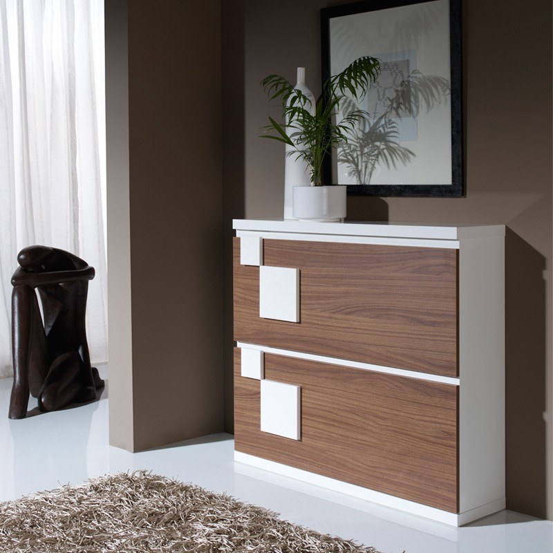 meuble chaussures blanc noyer squadra univers petits meubles. Black Bedroom Furniture Sets. Home Design Ideas