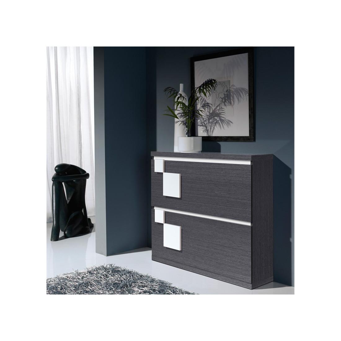 meuble chaussures cendre blanc squadra univers petits meubles. Black Bedroom Furniture Sets. Home Design Ideas