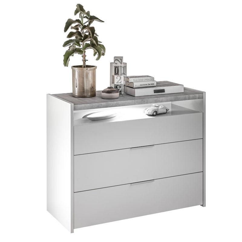 Commode 3 tiroirs 1 niche Blanc/Ciment - ANIECE