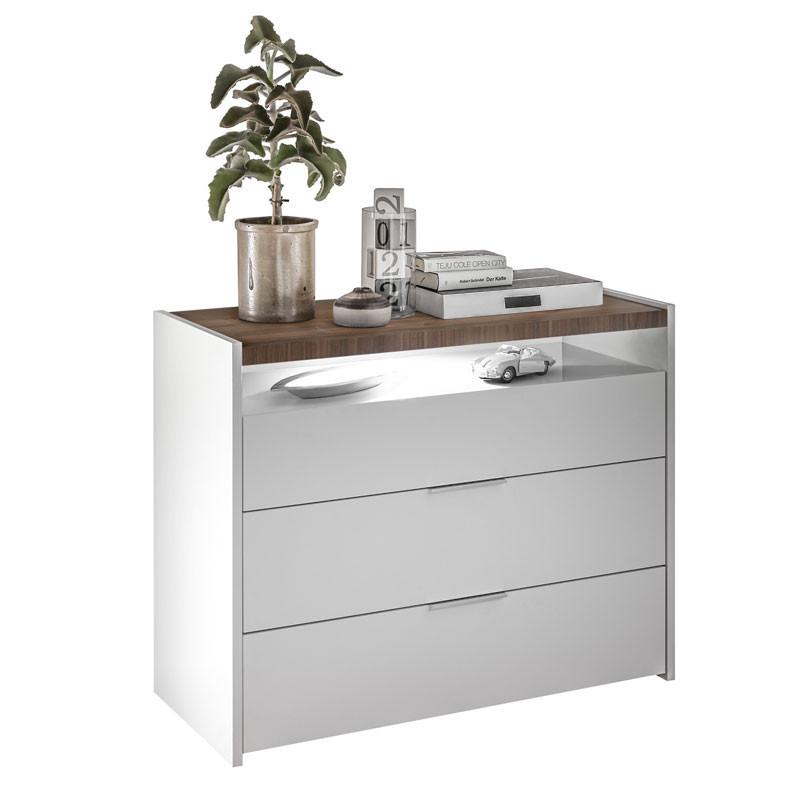 Commode 3 tiroirs 1 niche Blanc/Noisette foncé - ANIECE