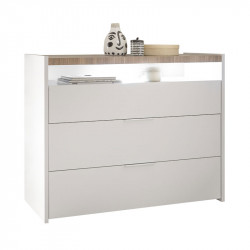 Commode 3 tiroirs 1 niche Blanc/Noisette clair - ANIECE