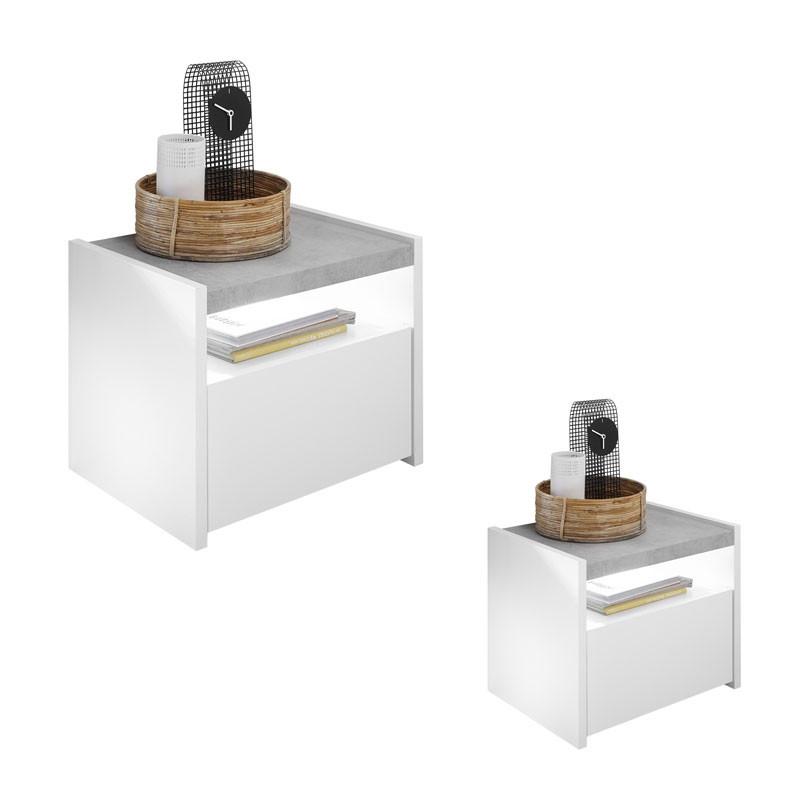 Duo de Tables de chevet Blanc/Ciment - ANIECE
