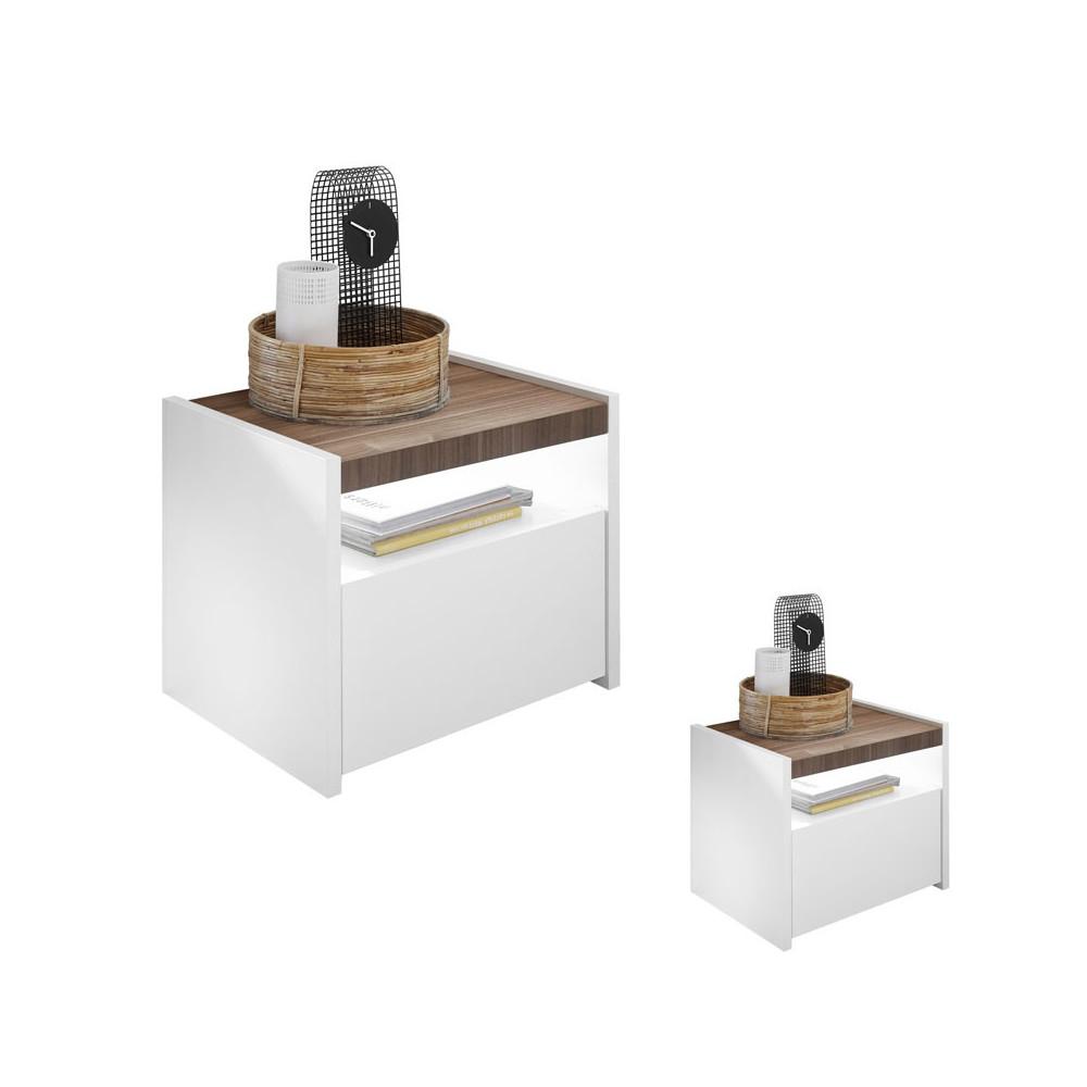 Duo de Tables de chevet Blanc/Noisette foncé - ANIECE