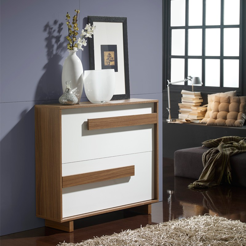 meuble chaussures blanc noyer storia univers petits meubles. Black Bedroom Furniture Sets. Home Design Ideas