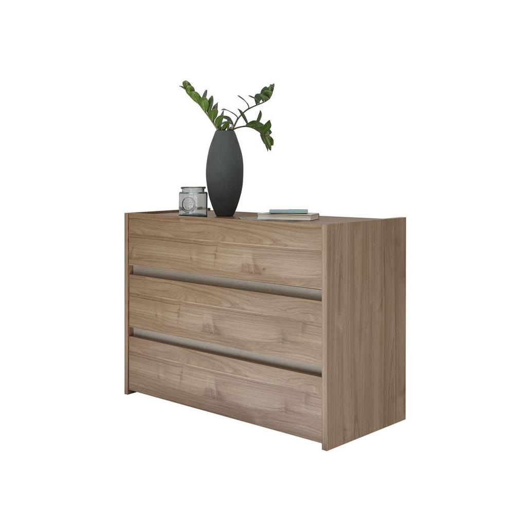 Commode 3 tiroirs Noisette clair/Argile - ANIECE