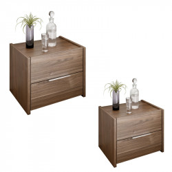 Duo de Tables de chevet Noisette foncé - ANIECE