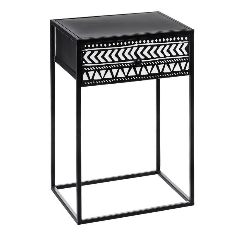Table d'appoint 1 tiroir Métal Noir/Blanc ethnique - Univers Petits Meubles - Tousmesmeubles